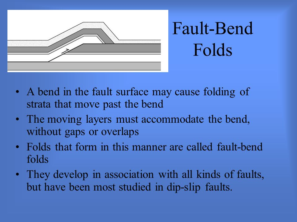 Fault-Bend Folds A bend in the fault surface may cause folding of strata that move past the bend The moving layers must accommodate the bend, without gaps or overlaps Folds that form in this manner are called fault-bend folds They develop in association with all kinds of faults, but have been most studied in dip-slip faults.
