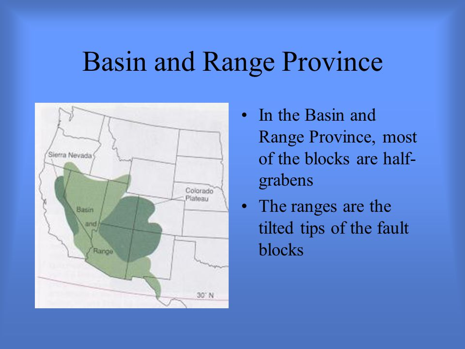 Basin and Range Province In the Basin and Range Province, most of the blocks are half- grabens The ranges are the tilted tips of the fault blocks