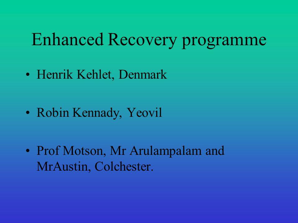 Enhanced Recovery programme Henrik Kehlet, Denmark Robin Kennady, Yeovil Prof Motson, Mr Arulampalam and MrAustin, Colchester.