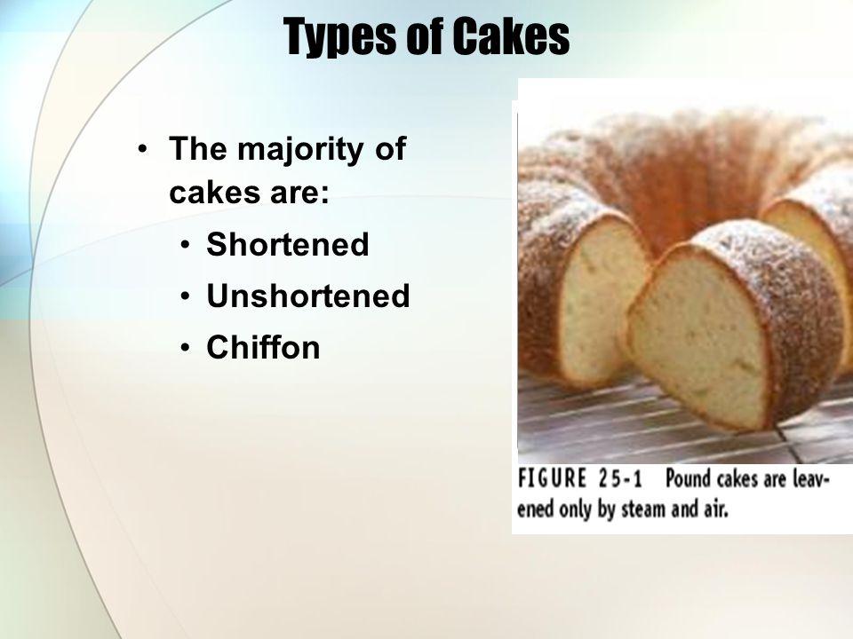 Types of Cakes The majority of cakes are: Shortened Unshortened Chiffon