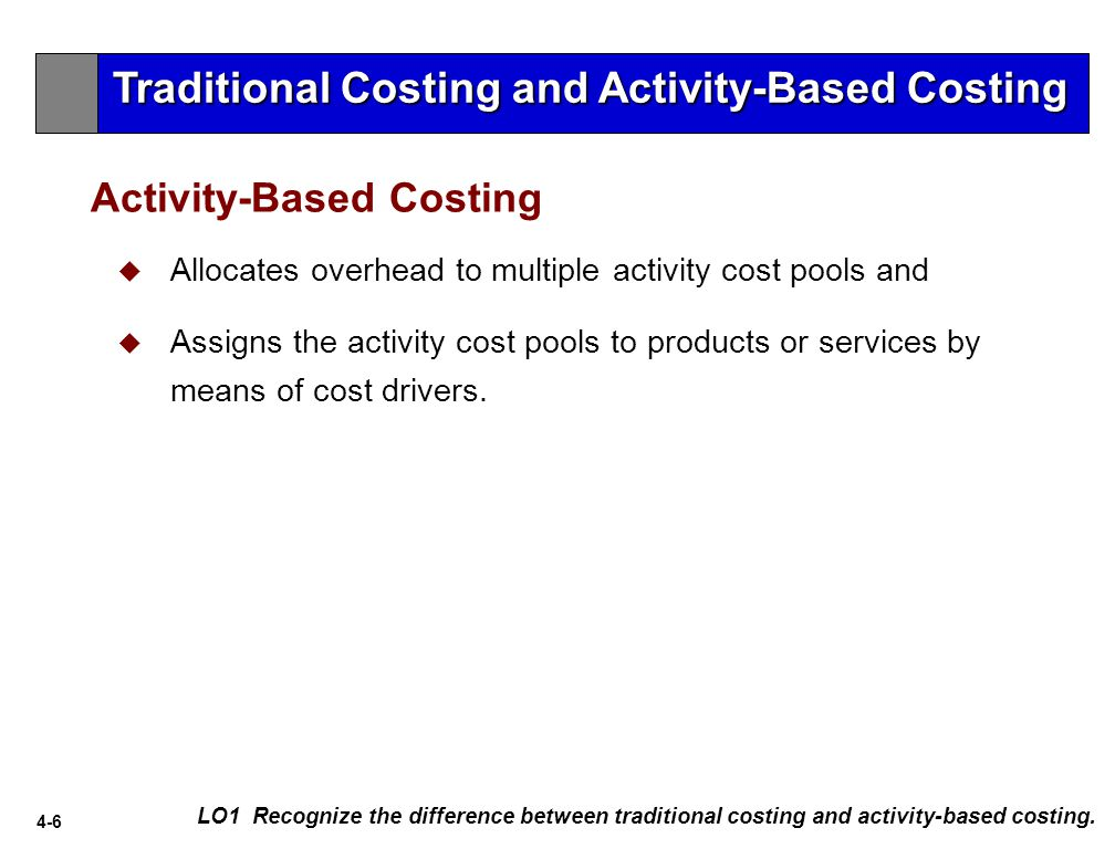 4-6 Activity-Based Costing LO1 Recognize the difference between traditional costing and activity-based costing.
