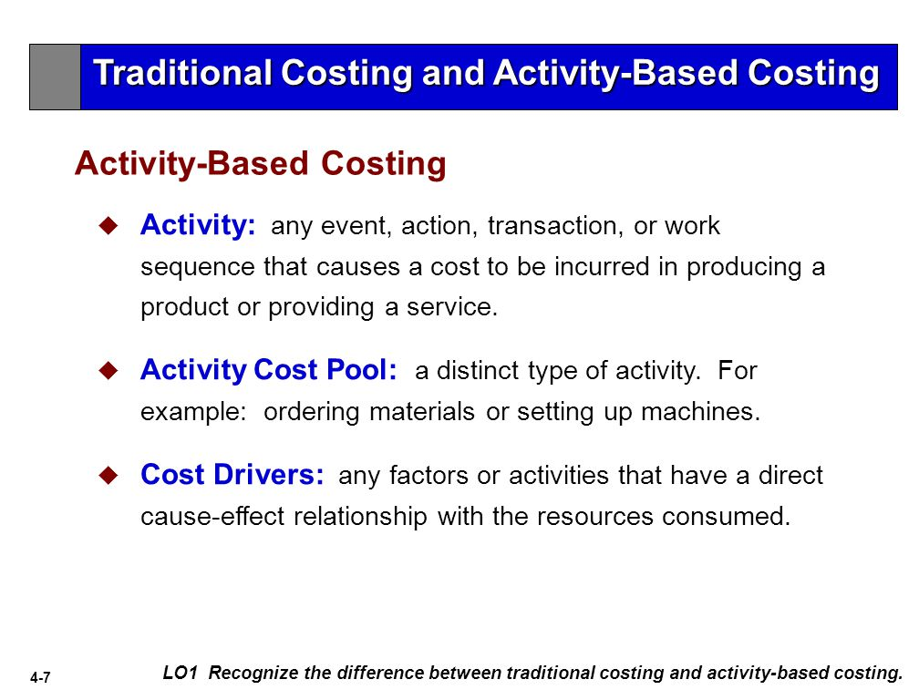 4-7 Activity-Based Costing LO1 Recognize the difference between traditional costing and activity-based costing.