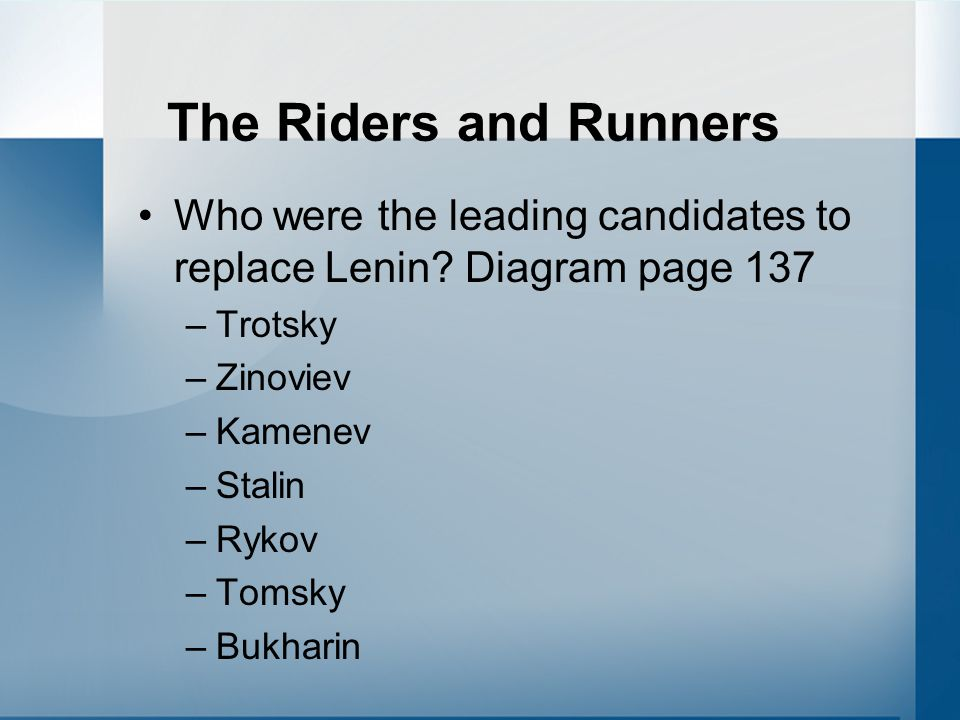The Riders and Runners Who were the leading candidates to replace Lenin.