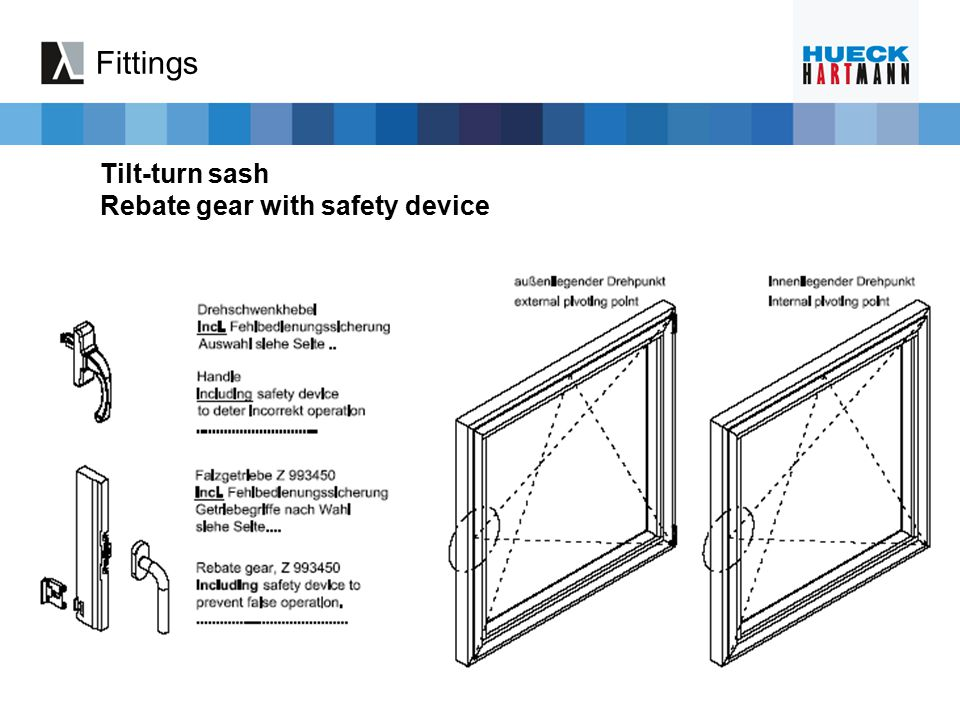 Fittings Tilt-turn sash Rebate gear with safety device