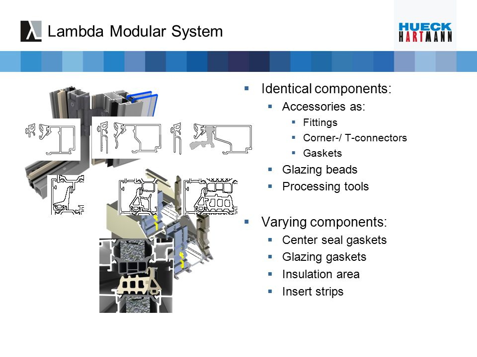 Lambda Modular System  2- and 3-chamber systems  Profile depth 77 mm, 65 mm and 57 mm  Various center seal gaskets  Wide range in U-value due to insert strips and rebate insulation