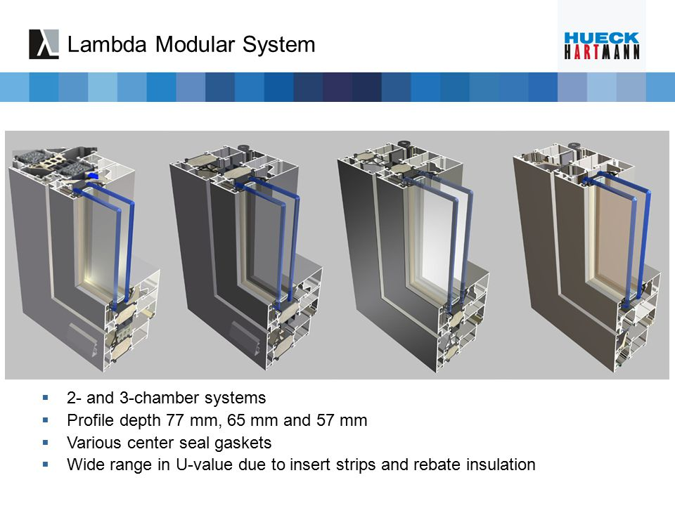 Lambda Modular System  2- and 3-chamber systems  Profile depth 77 mm, 65 mm and 57 mm  Various center seal gaskets  Wide range in U-value due to i