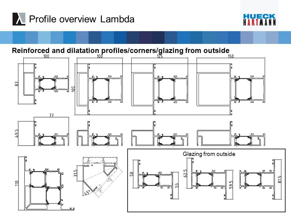 200-299 100-199 300-399 400-999 Series 1.0 (B 510 XXX) Lambda Systematic of numbering 30-59 Transom profiles 20-29 Sash profiles 00-19 Frame profiles 60-99 Others Artikelnummer: B 806 00 0