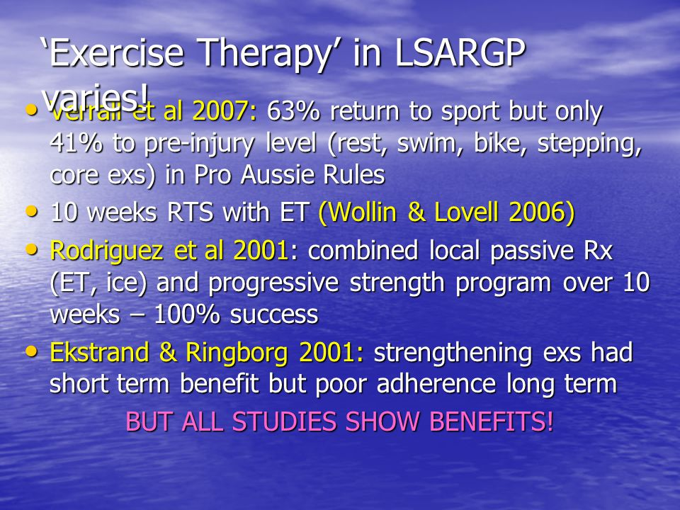 Verrall et al 2007: 63% return to sport but only 41% to pre-injury level (rest, swim, bike, stepping, core exs) in Pro Aussie Rules Verrall et al 2007