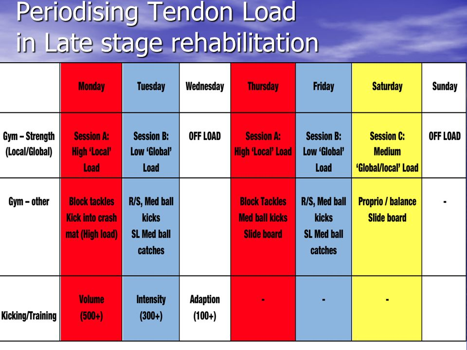 Periodising Tendon Load in Late stage rehabilitation