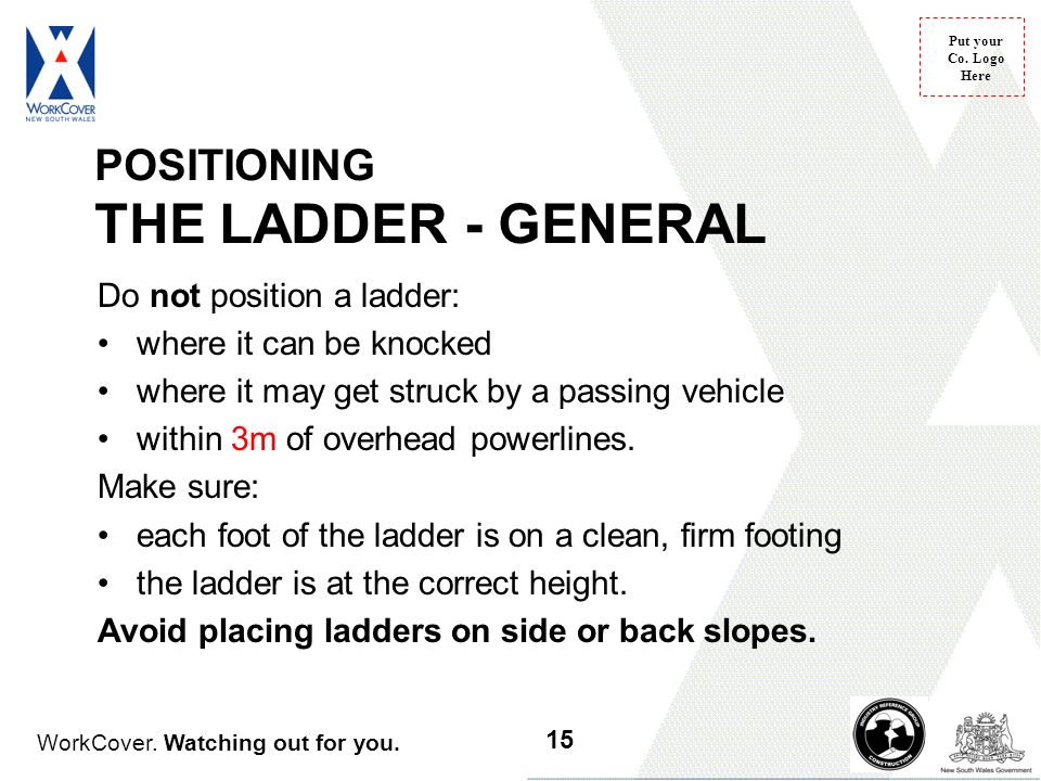 WorkCover. Watching out for you. Put your Co. Logo Here POSITIONING THE LADDER - GENERAL Do not position a ladder: where it can be knocked where it ma