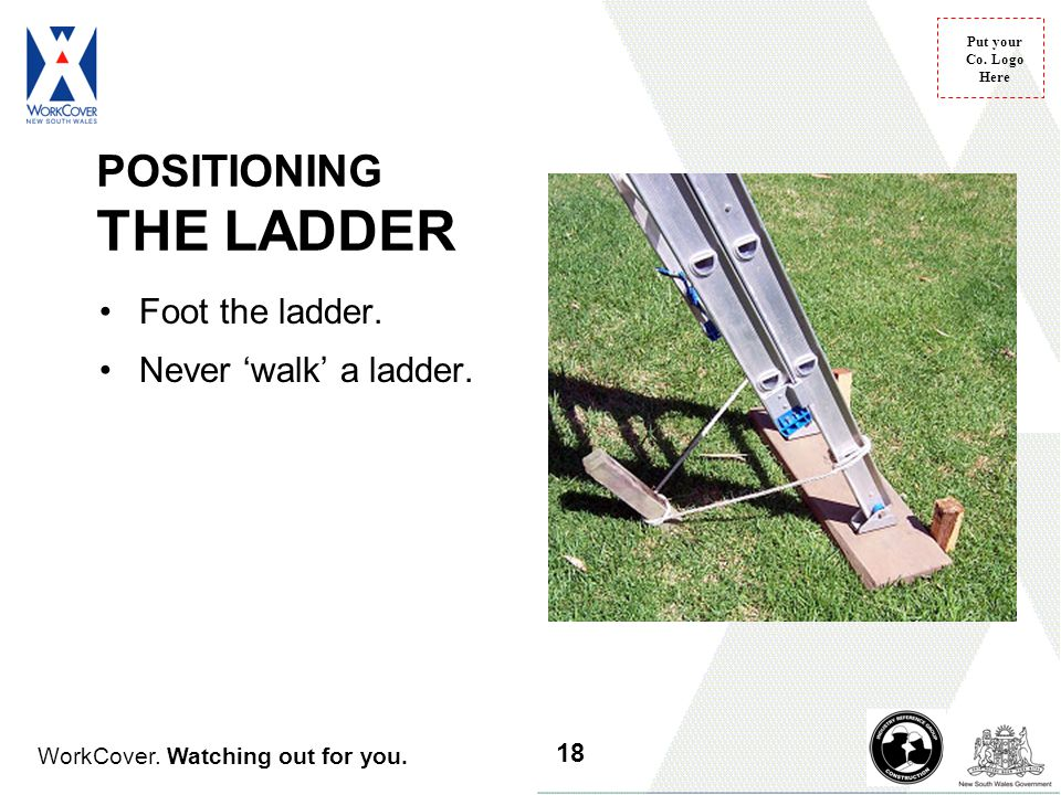 WorkCover. Watching out for you. Put your Co. Logo Here Foot the ladder. Never 'walk' a ladder. POSITIONING THE LADDER 18