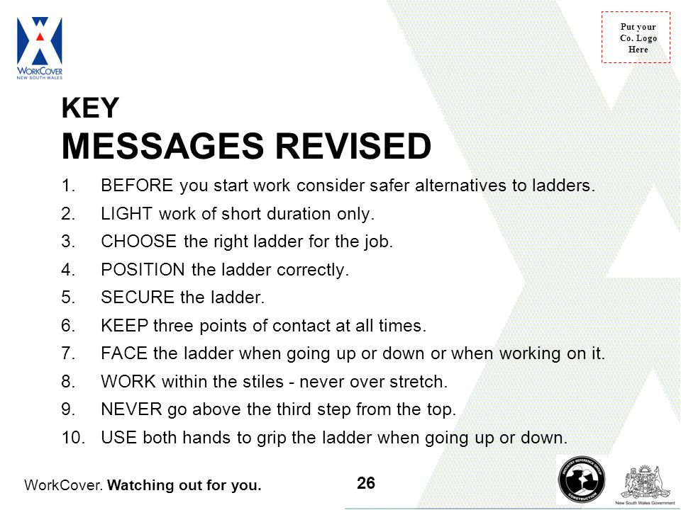 WorkCover. Watching out for you. Put your Co. Logo Here KEY MESSAGES REVISED 1.BEFORE you start work consider safer alternatives to ladders. 2.LIGHT w