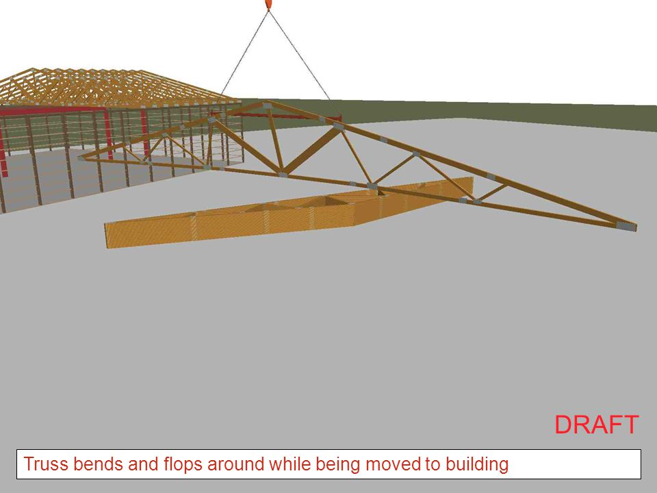 Truss bends and flops around while being moved to building