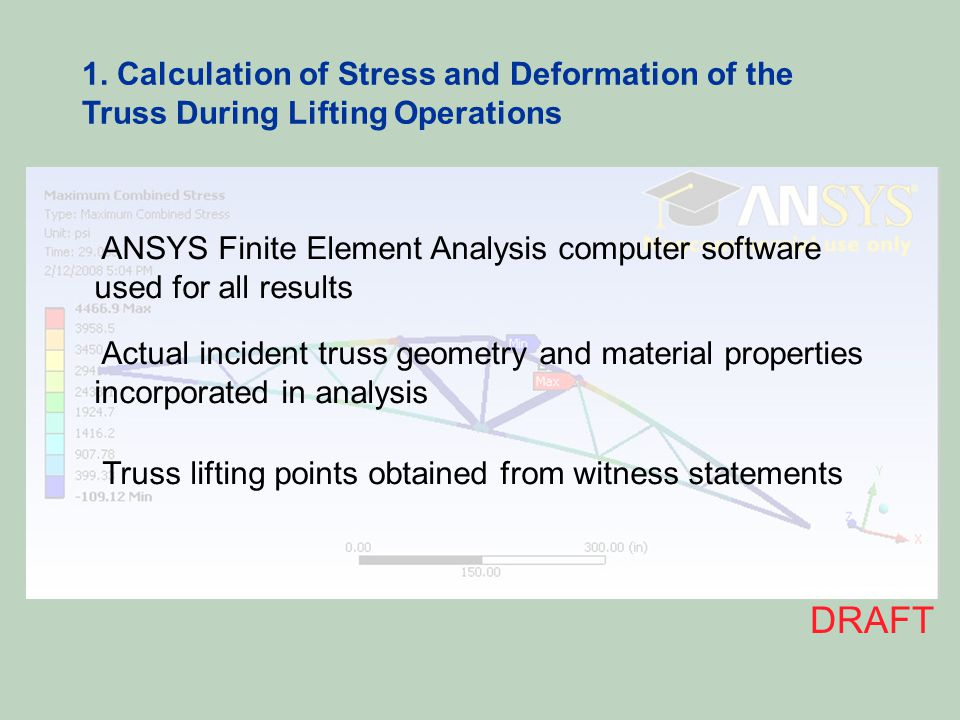 1. Calculation of Stress and Deformation of the Truss During Lifting Operations ANSYS Finite Element Analysis computer software used for all results A