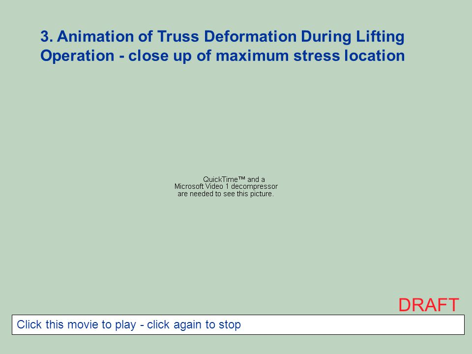 3. Animation of Truss Deformation During Lifting Operation - close up of maximum stress location DRAFT Click this movie to play - click again to stop