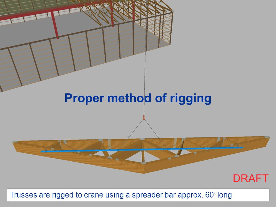 Trusses are rigged to crane using a spreader bar approx. 60' long Proper method of rigging DRAFT