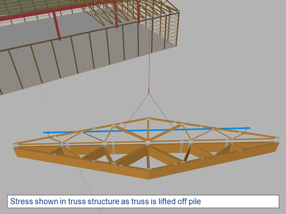 Stress shown in truss structure as truss is lifted off pile