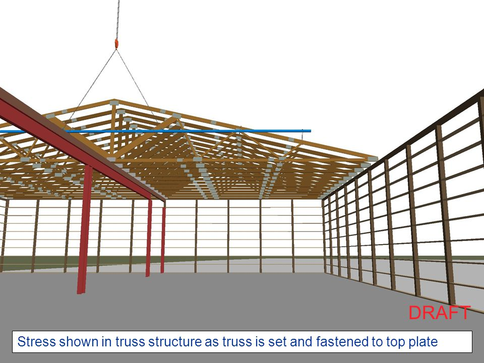 Stress shown in truss structure as truss is set and fastened to top plate DRAFT