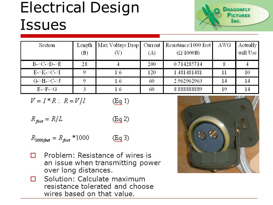Electrical Design Issues  Problem: Resistance of wires is an issue when transmitting power over long distances.