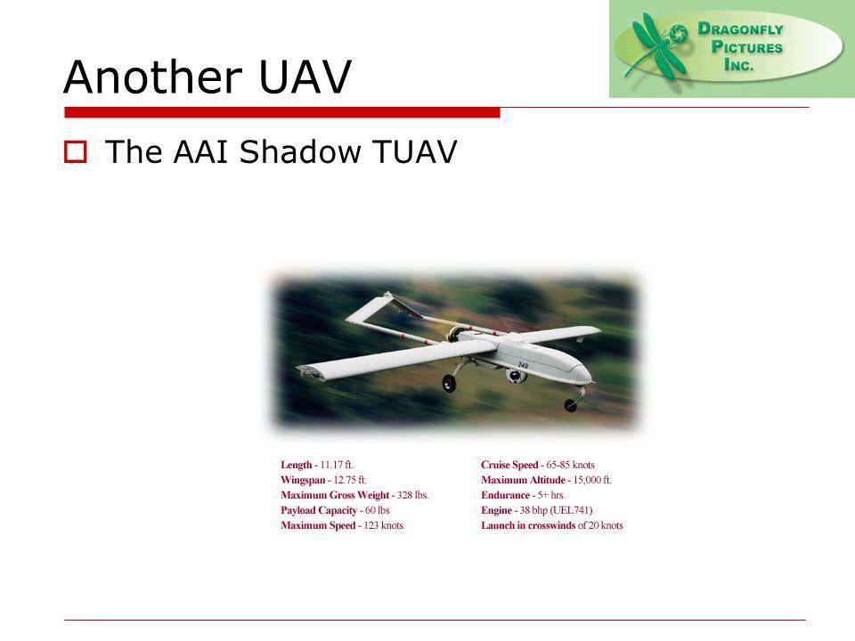 Another UAV  The AAI Shadow TUAV