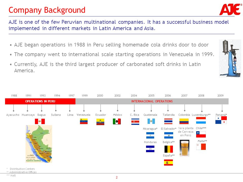 2 Company Background AJE is one of the few Peruvian multinational companies.