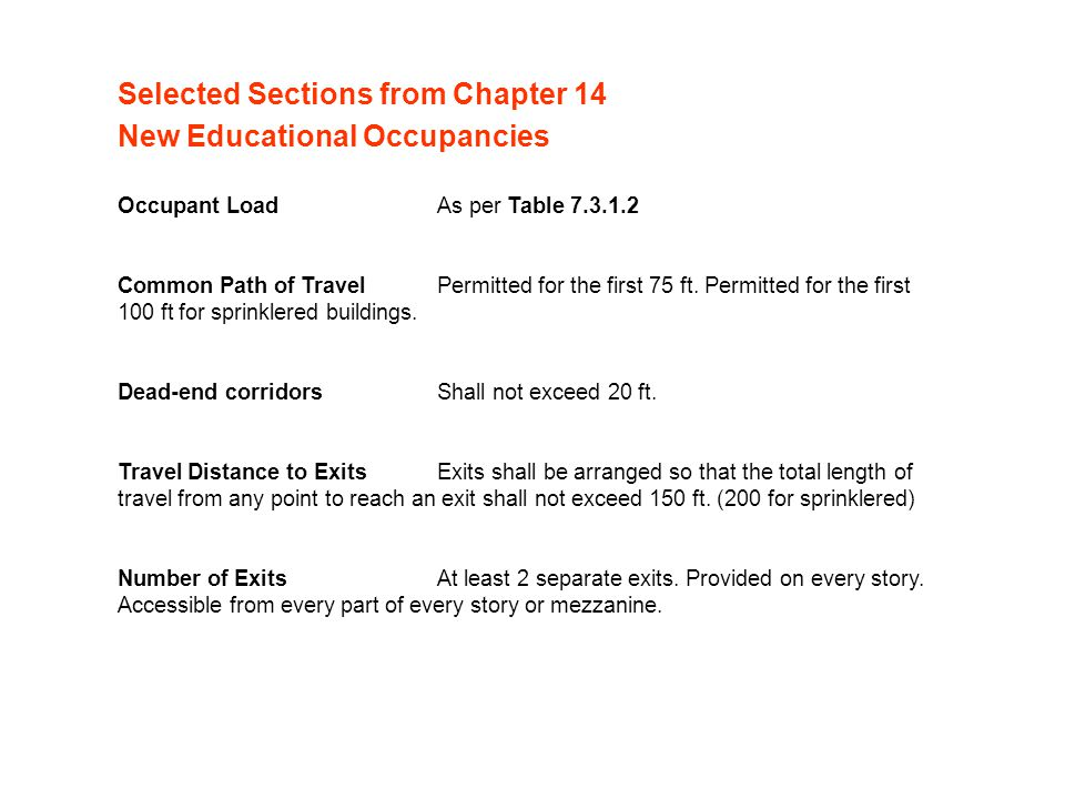 Occupant LoadAs per Table 7.3.1.2 Common Path of Travel Permitted for the first 75 ft.