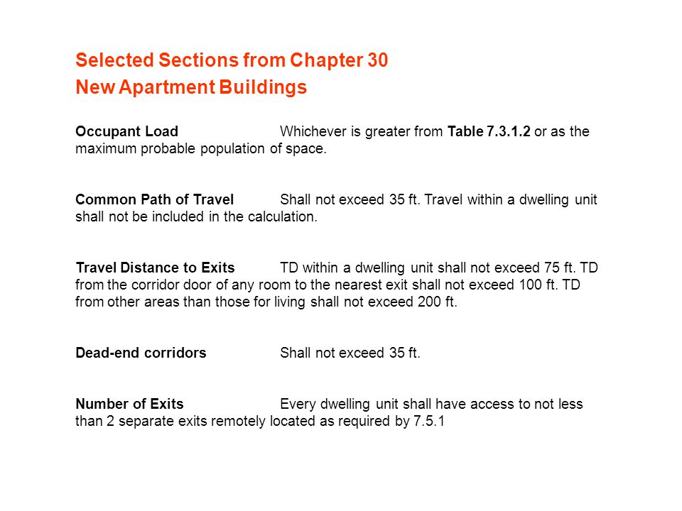 Selected Sections from Chapter 30 New Apartment Buildings Occupant LoadWhichever is greater from Table 7.3.1.2 or as the maximum probable population of space.
