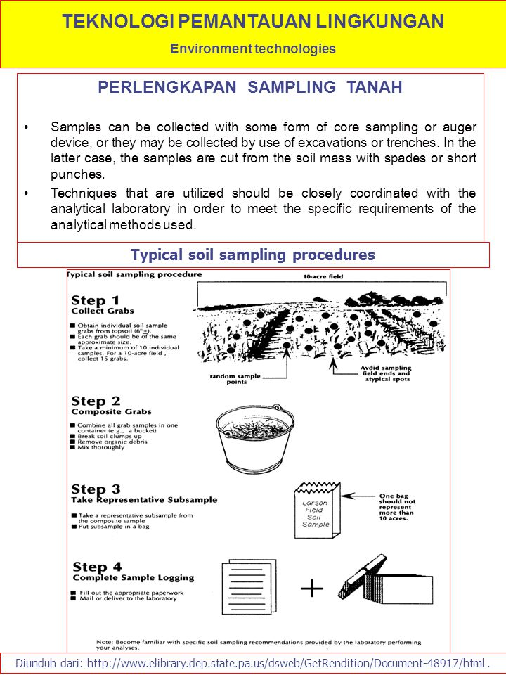 PERLENGKAPAN SAMPLING TANAH Samples can be collected with some form of core sampling or auger device, or they may be collected by use of excavations o