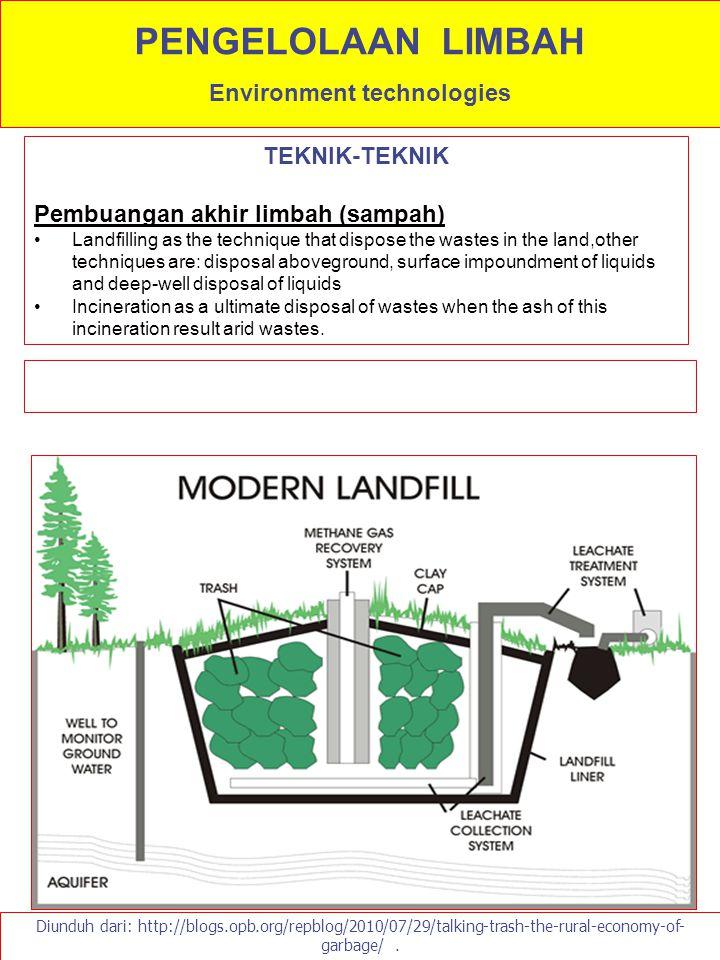 TEKNIK-TEKNIK Pembuangan akhir limbah (sampah) Landfilling as the technique that dispose the wastes in the land,other techniques are: disposal abovegr