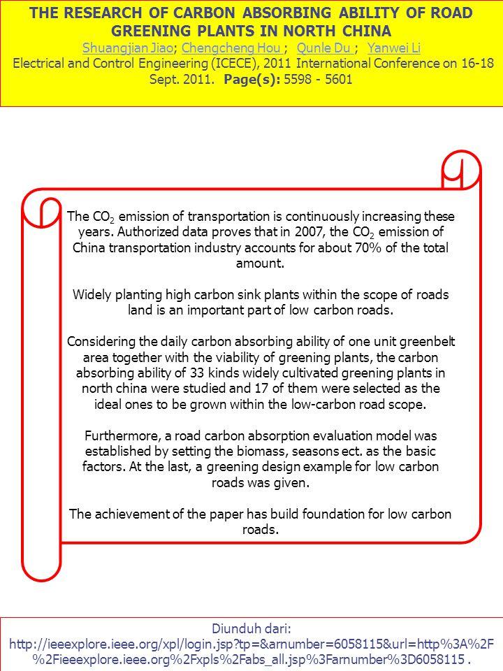 THE RESEARCH OF CARBON ABSORBING ABILITY OF ROAD GREENING PLANTS IN NORTH CHINA Shuangjian JiaoShuangjian Jiao; Chengcheng Hou ; Qunle Du ; Yanwei Li