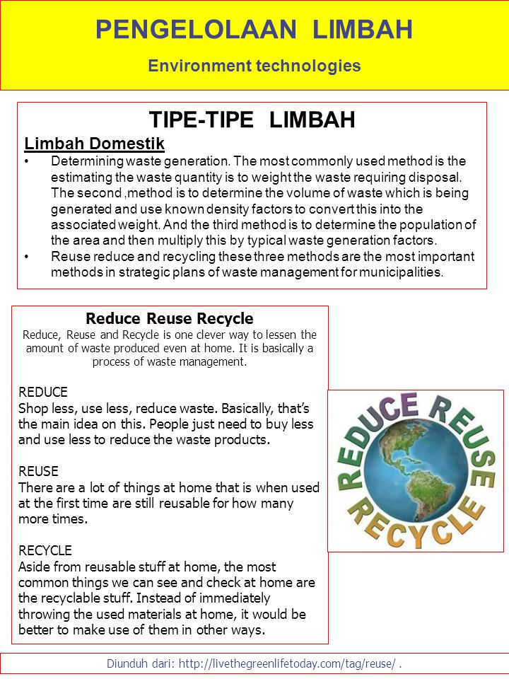 TIPE-TIPE LIMBAH Limbah Domestik Determining waste generation. The most commonly used method is the estimating the waste quantity is to weight the was