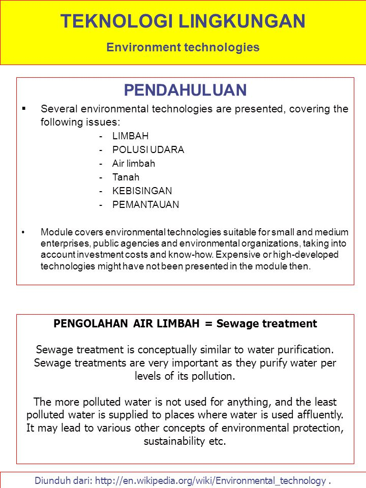 UNIT PENGOLAHAN AIR LIMBAH Purpose of any ww treatment plant is to convert the components in raw wastewater, with its inherent characteristics, into a relatively harmless final effluent for discharge to a receiving body of water and to safely dispose of the solids (sludge) produced in the process.