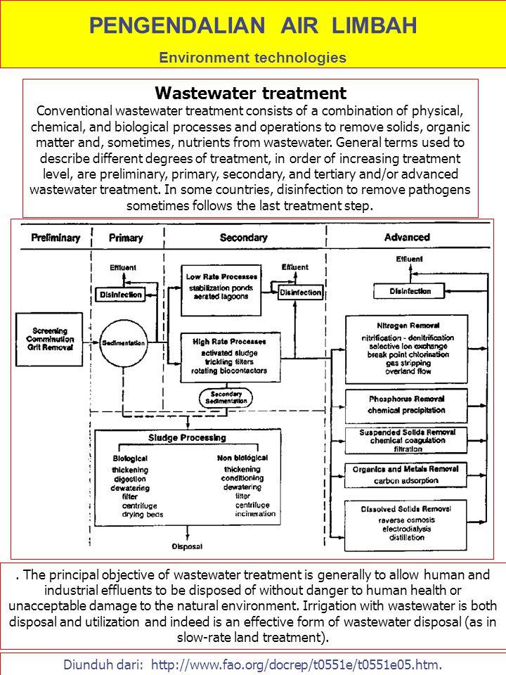 PENGENDALIAN AIR LIMBAH Environment technologies Diunduh dari: http://www.fao.org/docrep/t0551e/t0551e05.htm. Wastewater treatment Conventional wastew