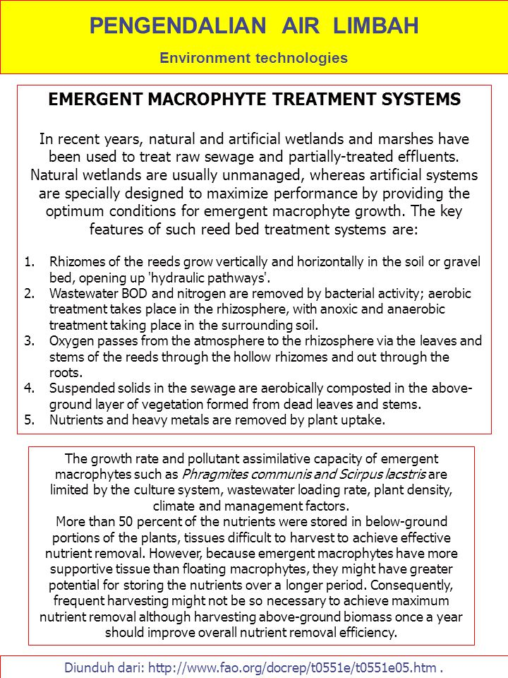 Diunduh dari: http://www.fao.org/docrep/t0551e/t0551e05.htm. EMERGENT MACROPHYTE TREATMENT SYSTEMS In recent years, natural and artificial wetlands an