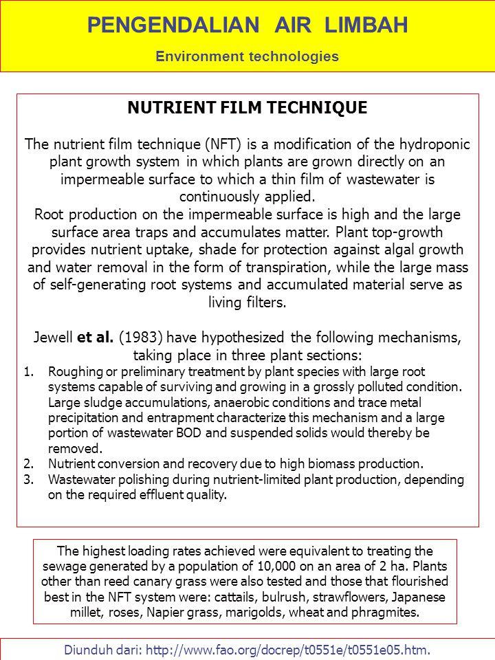 Diunduh dari: http://www.fao.org/docrep/t0551e/t0551e05.htm. NUTRIENT FILM TECHNIQUE The nutrient film technique (NFT) is a modification of the hydrop