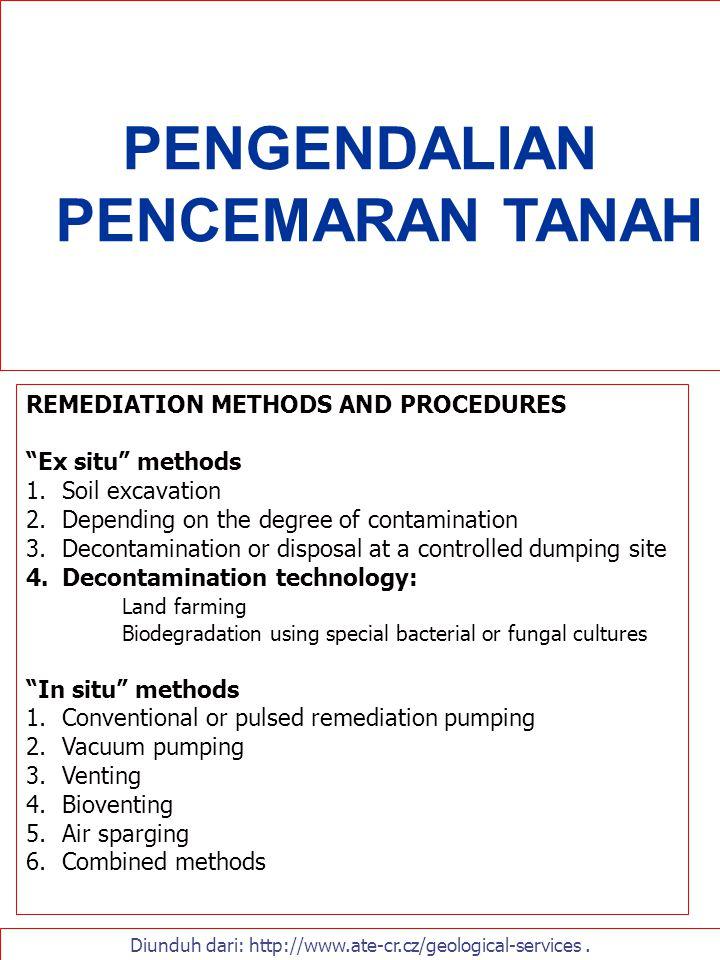 "PENGENDALIAN PENCEMARAN TANAH Diunduh dari: http://www.ate-cr.cz/geological-services. REMEDIATION METHODS AND PROCEDURES ""Ex situ"" methods 1.Soil exca"