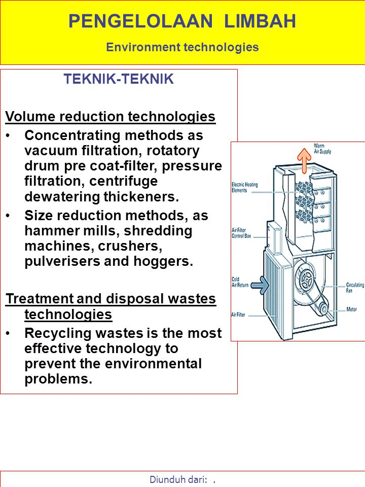 TEKNIK-TEKNIK Physical methods of waste treatment as primary treatment, polishing, secondary treatment, disposal resource recovery and discharge recycle.