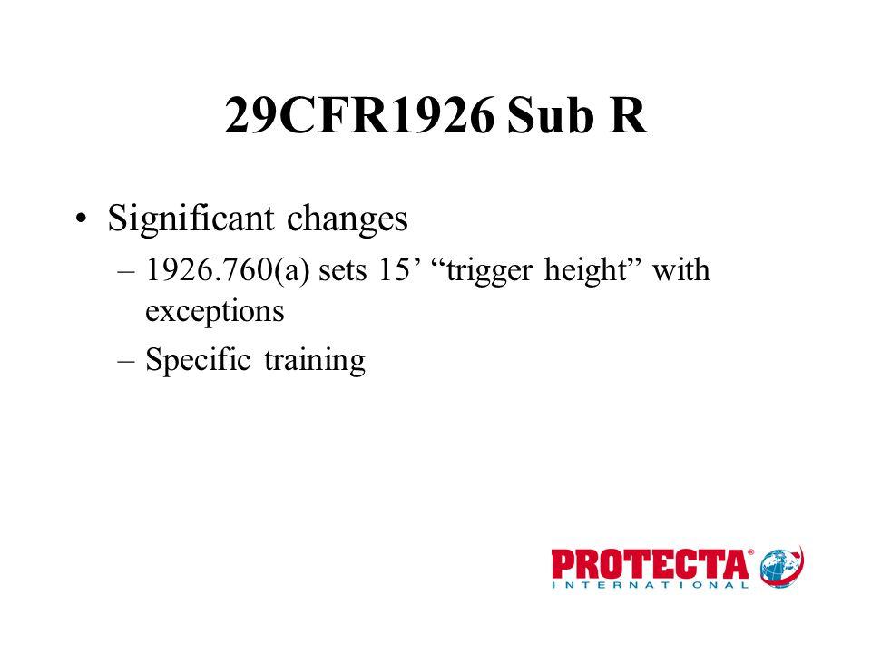 Federal Regulatory Basis OSHA –29 CFR 1926 Sub R Steel erection only –29 CFR 1926 Sub M Well documented 6' free fall