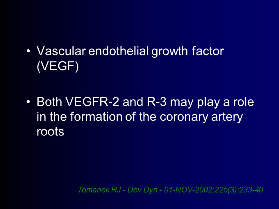 Vascular endothelial growth factor (VEGF) Both VEGFR-2 and R-3 may play a role in the formation of the coronary artery roots Tomanek RJ - Dev Dyn - 01-NOV-2002;225(3):233-40