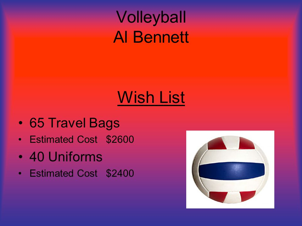 Volleyball Al Bennett Wish List 65 Travel Bags Estimated Cost $2600 40 Uniforms Estimated Cost $2400