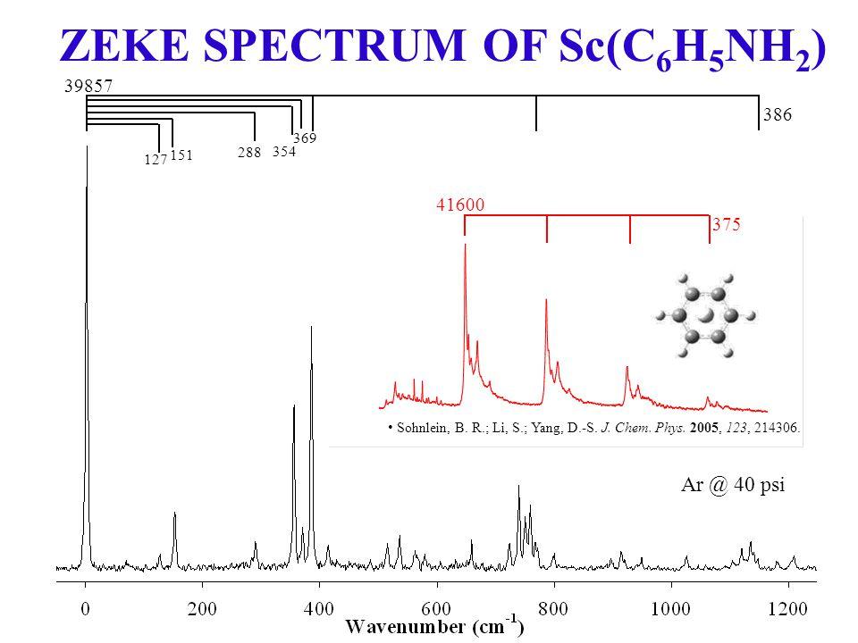 ZEKE SPECTRUM OF Sc(C 6 H 5 NH 2 ) 375 41600 39857 386 354 369 151 288 127 Ar @ 40 psi Sohnlein, B.