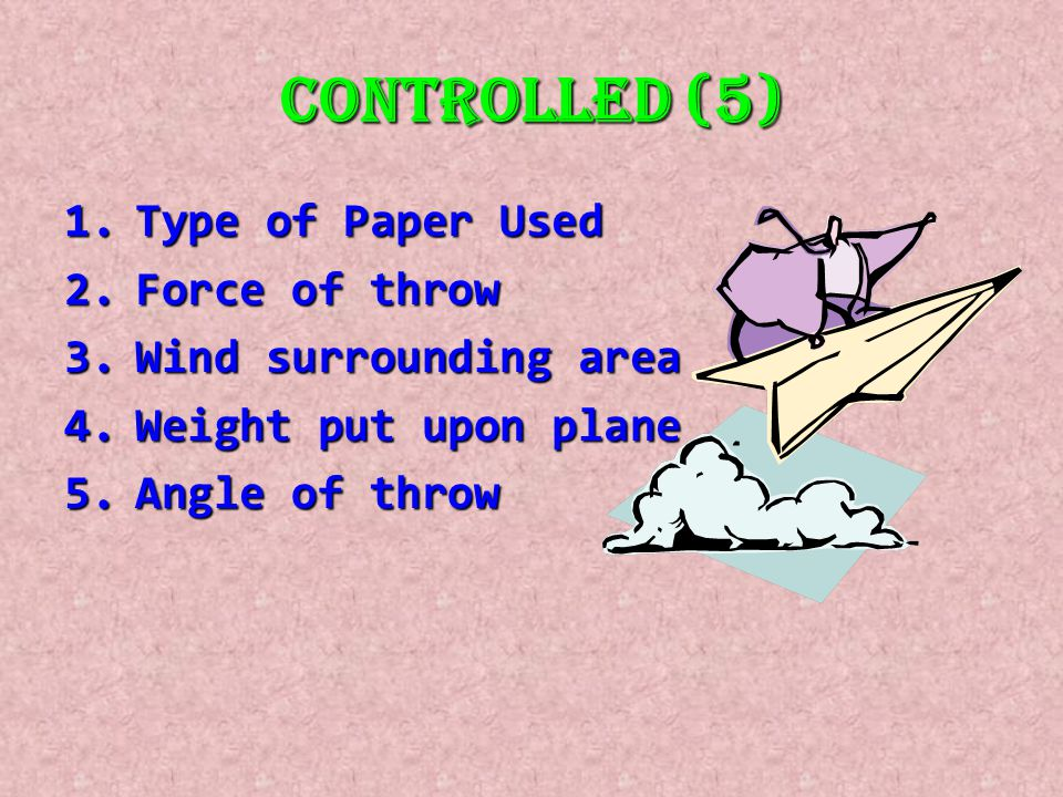 Controlled (5) 1.Type of Paper Used 2.Force of throw 3.Wind surrounding area 4.Weight put upon plane 5.Angle of throw