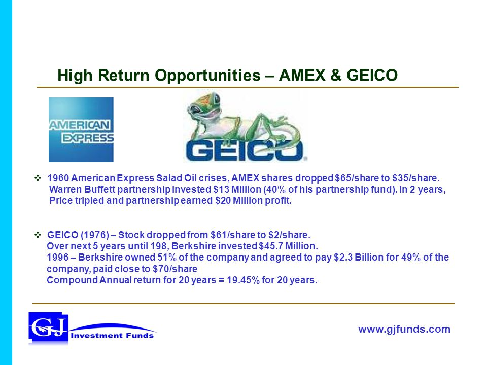 High Return Opportunities – AMEX & GEICO  1960 American Express Salad Oil crises, AMEX shares dropped $65/share to $35/share.