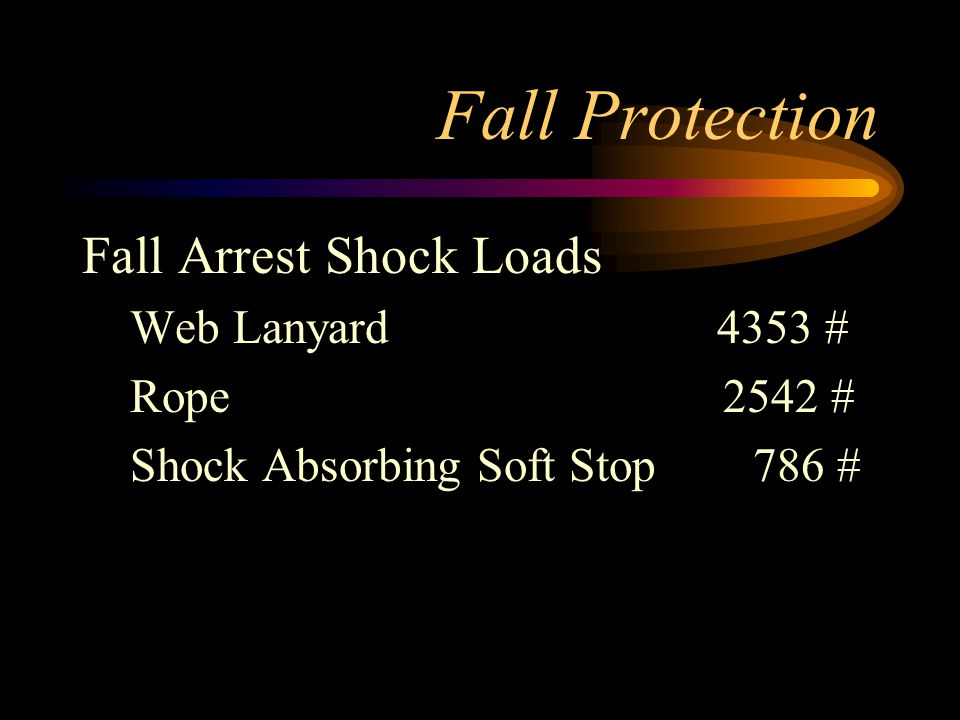 Fall Protection Fall Arrest Shock Loads Web Lanyard 4353 # Rope 2542 # Shock Absorbing Soft Stop 786 #