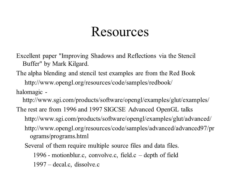 Resources Excellent paper