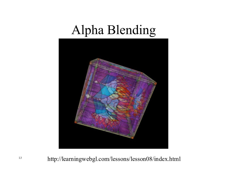 13 Alpha Blending http://learningwebgl.com/lessons/lesson08/index.html
