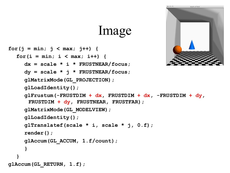 Image for(j = min; j < max; j++) { for(i = min; i < max; i++) { dx = scale * i * FRUSTNEAR/focus; dy = scale * j * FRUSTNEAR/focus; glMatrixMode(GL_PR