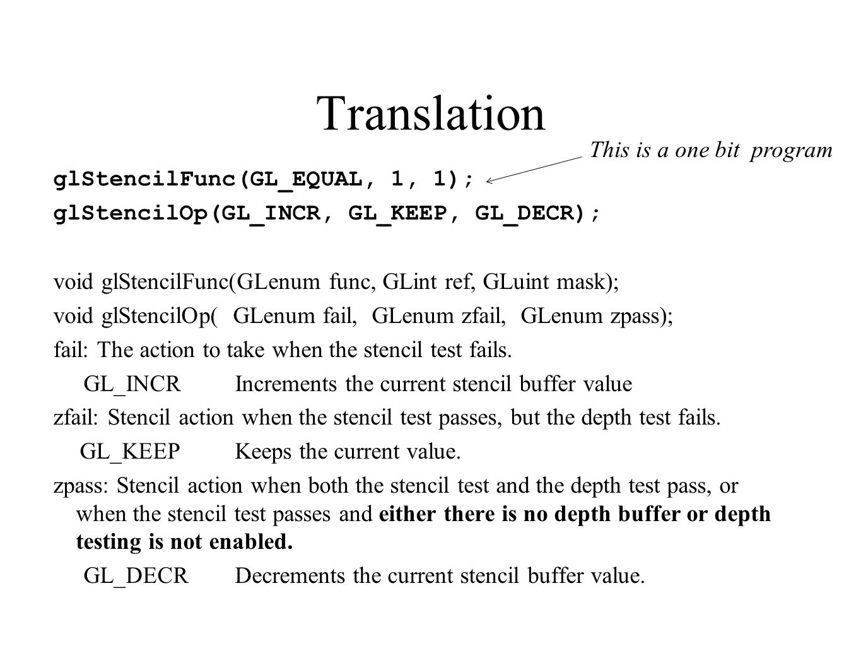Translation glStencilFunc(GL_EQUAL, 1, 1); glStencilOp(GL_INCR, GL_KEEP, GL_DECR); void glStencilFunc(GLenum func, GLint ref, GLuint mask); void glSte