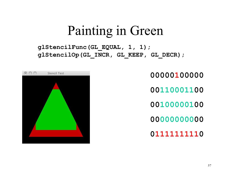 Painting in Green 57 00000100000 00110001100 00100000100 00000000000 01111111110 glStencilFunc(GL_EQUAL, 1, 1); glStencilOp(GL_INCR, GL_KEEP, GL_DECR)