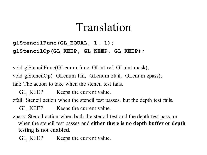 Translation glStencilFunc(GL_EQUAL, 1, 1); glStencilOp(GL_KEEP, GL_KEEP, GL_KEEP); void glStencilFunc(GLenum func, GLint ref, GLuint mask); void glSte
